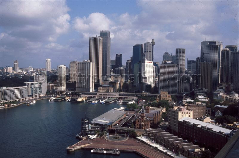 Blick über Darling Harbor und Downtown Sydney