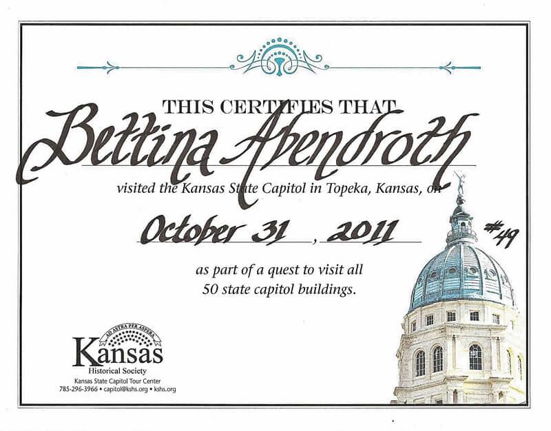 Zertifikat über Capitol Besuch in Topeka, Kansas