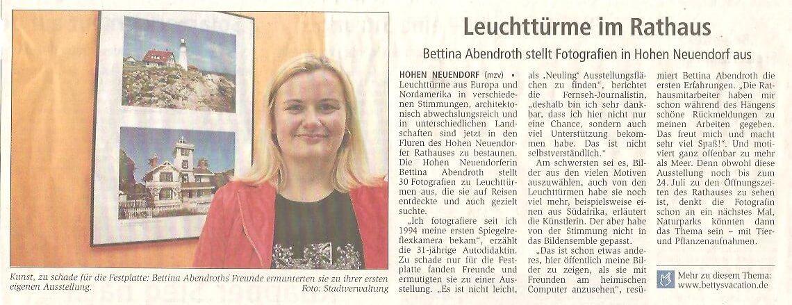 Zeitung zu Ausstellung Leuchttürme