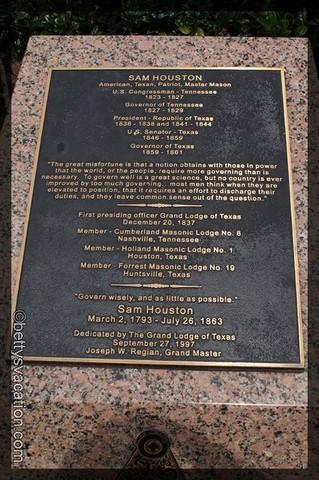 Sam Houston Plaque 1