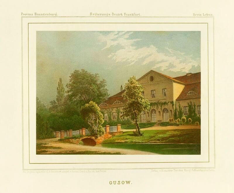 Historische Aufnahme von Schloss Gusow.