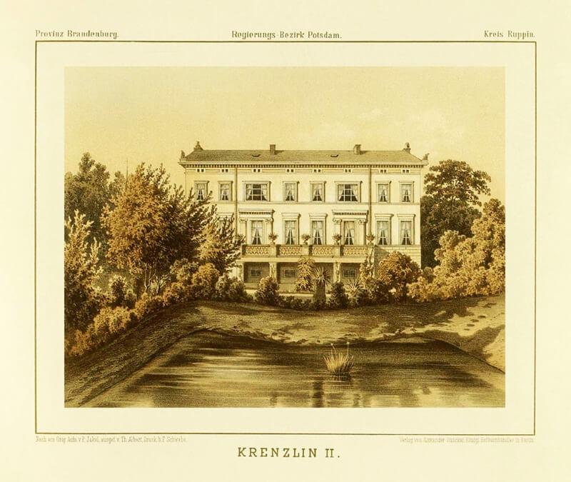 Historische Aufnahme von Schloss Kränzlin vor einem Teich.