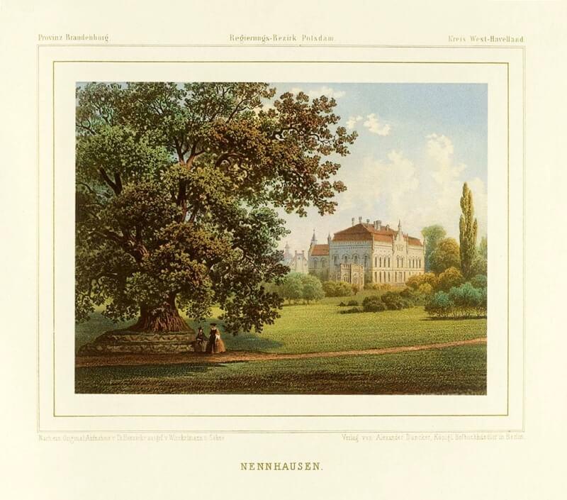 Historische Aufnahme von Schloss Nennhausen im Havelland von der Gartenseite aus gesehen.