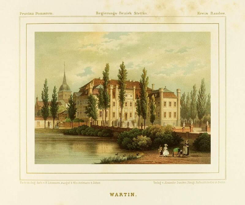 Historische Aufnahme von Schloss Wartin in der Uckermark.