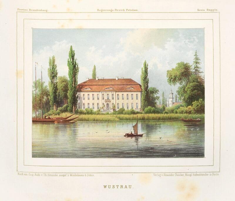 Historische Aufnahme von Schloss Wustrau vom Ruppiner See.