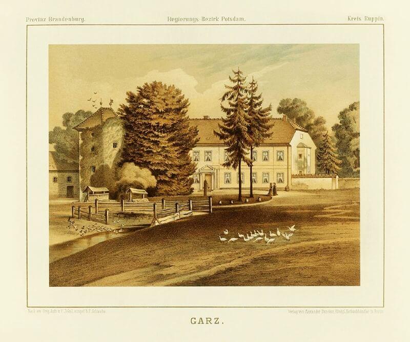 Historische Aufnahme des Wohnturms Garz und des Gutshauses mit Park.