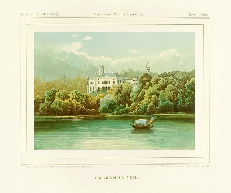 Historische Ansicht von Schloss Falkenhagen im neugotischen Stil.